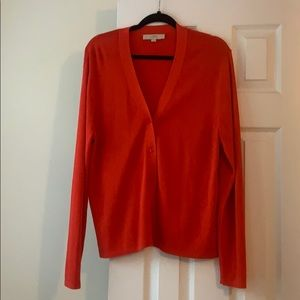 LOFT bright red button down cardigan, size XXL